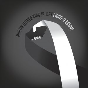 Martin Luther King Day Black and white ribbon shaking hands