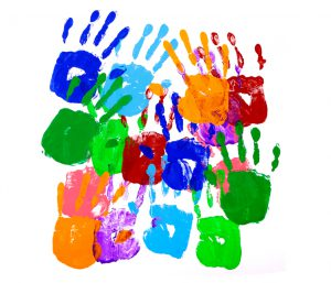 Multicolor handprints on a white background. Alternative version shown below: